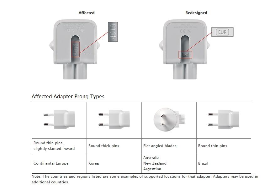 Affected Apple adapters