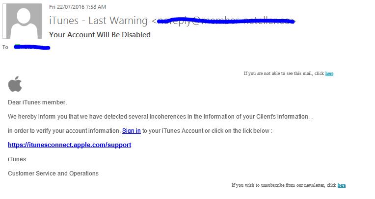 iTunes Phishing Scam
